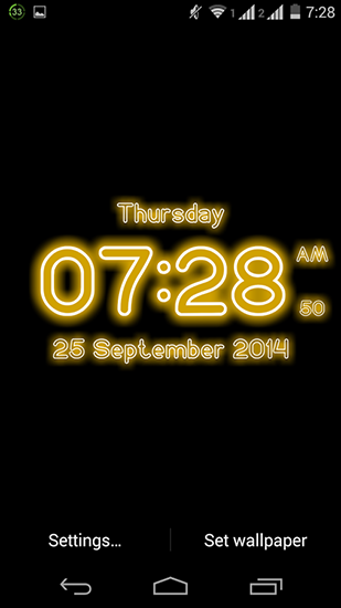 Screenshots of the Neon digital clock for Android tablet, phone.