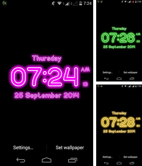 Download live wallpaper Neon digital clock for Android. Get full version of Android apk livewallpaper Neon digital clock for tablet and phone.