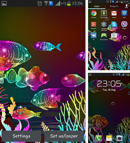 Download live wallpaper Neon fish for Android. Get full version of Android apk livewallpaper Neon fish for tablet and phone.