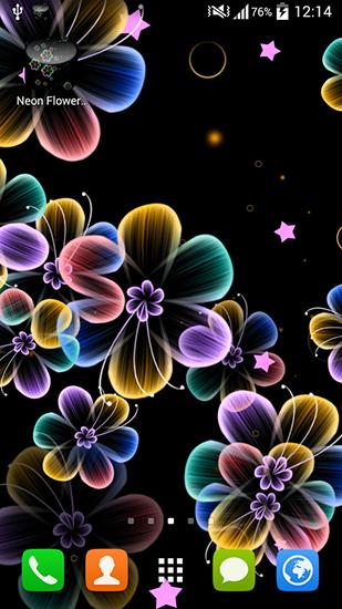 Descargar Neon Flowers Para Android Gratis El Fondo De Pantalla