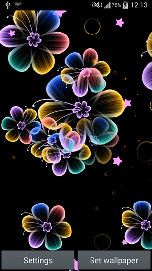 Screenshots of the Neon flowers for Android tablet, phone.