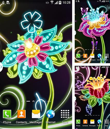 Kostenloses Android-Live Wallpaper Neonblumen. Vollversion der Android-apk-App Neon flowers by Live Wallpapers 3D für Tablets und Telefone.