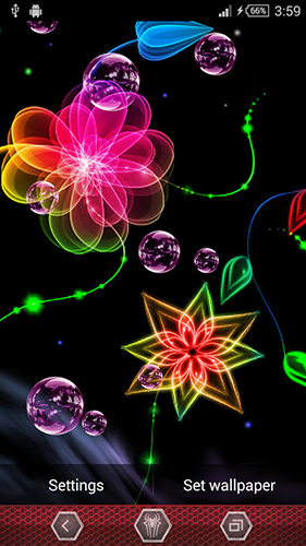玩安卓版Neon flowers by Next Live Wallpapers。免费下载动态壁纸。
