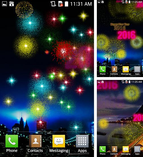 In addition to live wallpaper Pink fluffy ball for Android phones and tablets, you can also download New Year fireworks 2016 for free.