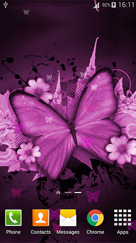 Pink butterfly by Dream World HD Live Wallpapers