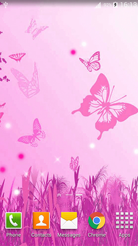 Pink butterfly by Dream World HD Live Wallpapers - скриншоты живых обоев для Android.