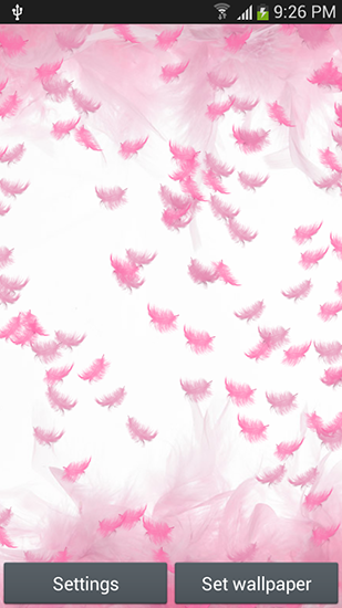 Pink feather für Android spielen. Live Wallpaper Pinke Federn kostenloser Download.