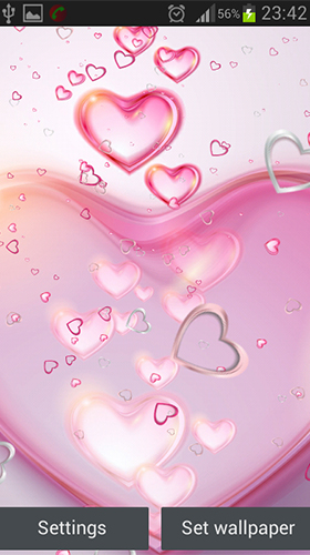 Screenshots of the Pink hearts for Android tablet, phone.