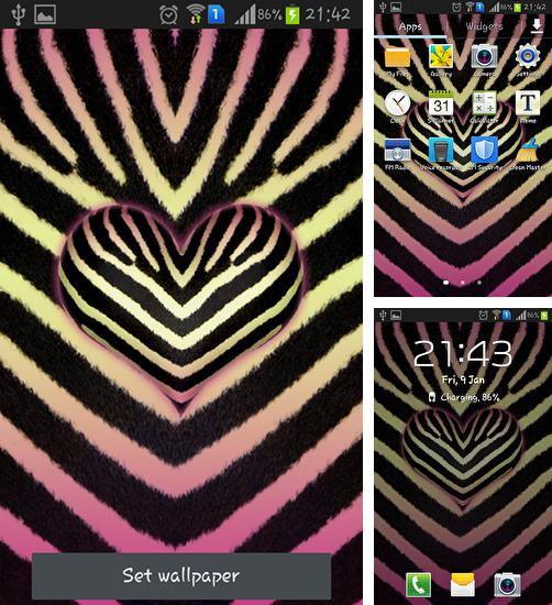 In addition to live wallpaper Green field for Android phones and tablets, you can also download Pink zebra for free.