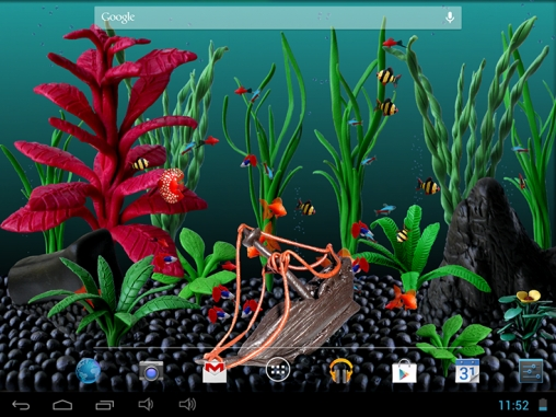 Screenshots of the Plasticine aquarium for Android tablet, phone.