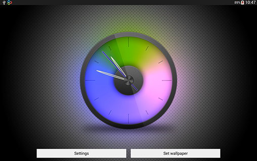 Screenshots of the Rainbow clock for Android tablet, phone.