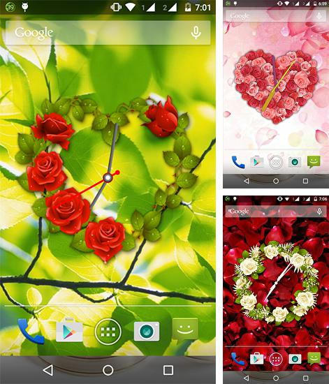 In addition to live wallpaper Flowers live wallpaper for Android phones and tablets, you can also download Rose clock for free.