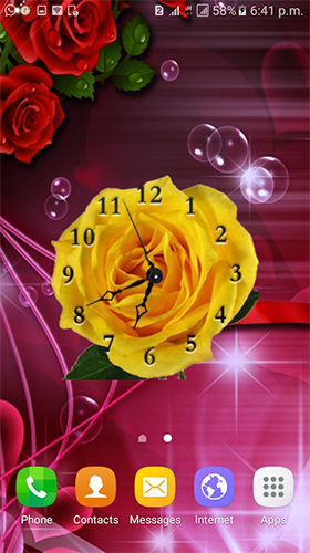 Kostenloses Android-Live Wallpaper Rosenuhr. Vollversion der Android-apk-App Rose clock by Mobile Masti Zone für Tablets und Telefone.