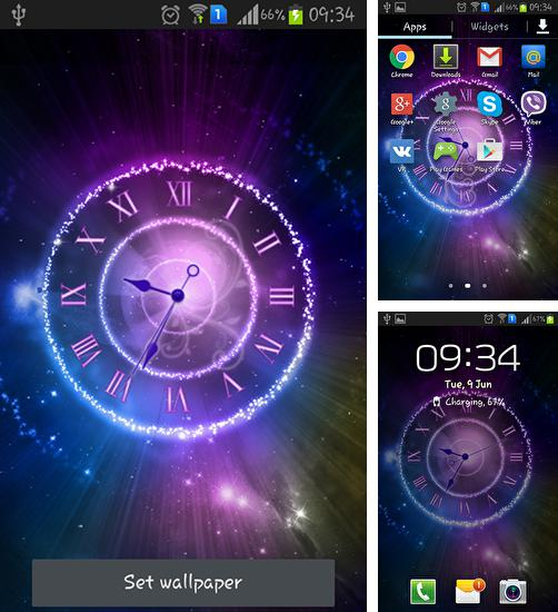 In addition to live wallpaper Snowy night for Android phones and tablets, you can also download Shining clock for free.