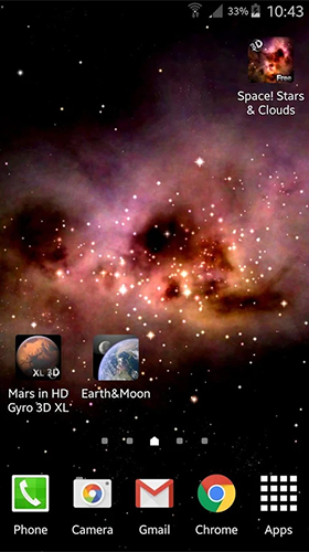 Screenshots of the Space stars and clouds for Android tablet, phone.