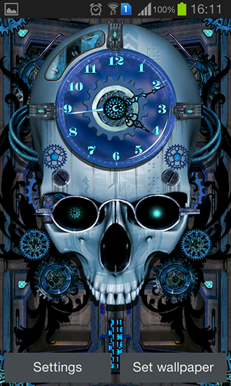 Screenshots of the Steampunk clock for Android tablet, phone.