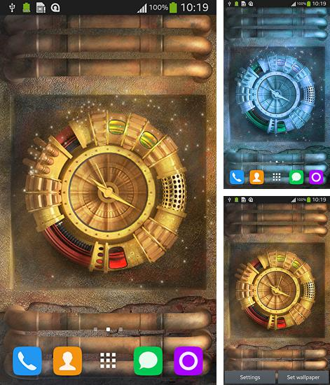 In addition to live wallpaper Curious Cat for Android phones and tablets, you can also download Wallpaper with clock for free.