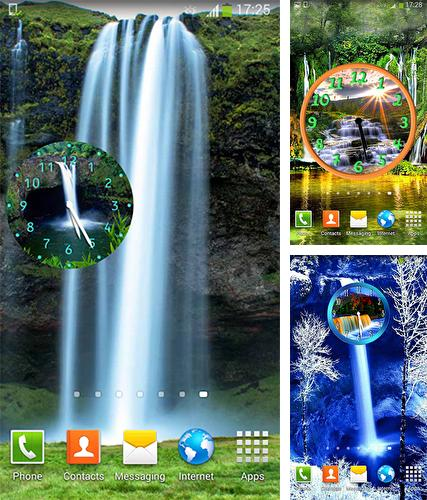 Download live wallpaper Waterfall: Clock for Android. Get full version of Android apk livewallpaper Waterfall: Clock for tablet and phone.
