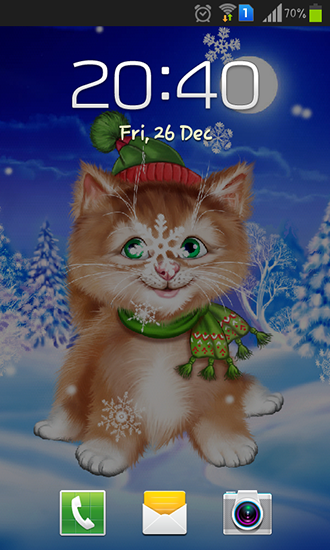 Screenshots of the Winter cat for Android tablet, phone.