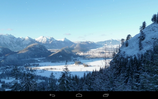 Kostenloses Android-Live Wallpaper Winterberge. Vollversion der Android-apk-App Winter mountains für Tablets und Telefone.