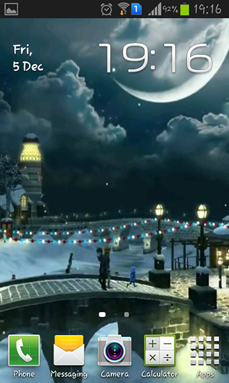 Kostenloses Android-Live Wallpaper Winterdorf 3D. Vollversion der Android-apk-App Winter village 3D für Tablets und Telefone.