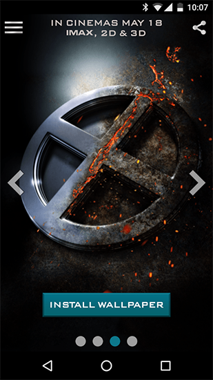 Screenshots of the X-men for Android tablet, phone.