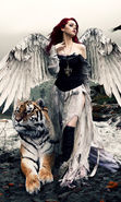 Download free mobile wallpaper 21584: Angels, Girls, Fantasy, People, Tigers, Animals for phone or tab. Download images, backgrounds and wallpapers for mobile phone for free.