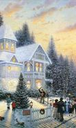 Download free mobile wallpaper 429: Humans, Winter, Houses, Drawings for phone or tab. Download images, backgrounds and wallpapers for mobile phone for free.