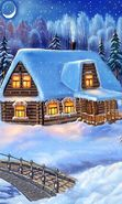 Download free mobile wallpaper 785: Landscape, Winter, Houses, Bridges, Night, Snow, Drawings for phone or tab. Download images, backgrounds and wallpapers for mobile phone for free.