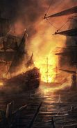 Download free mobile wallpaper 59: Water, Fantasy, Art, Ships, Sea, Fire for phone or tab. Download images, backgrounds and wallpapers for mobile phone for free.