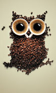 Download free mobile wallpaper 14494: Art, Coffee, Owl, Funny, Animals for phone or tab. Download images, backgrounds and wallpapers for mobile phone for free.