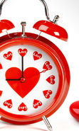 Download free mobile wallpaper 23637: Clock, Love, Objects, Hearts for phone or tab. Download images, backgrounds and wallpapers for mobile phone for free.