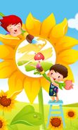 Download free mobile wallpaper 26890: Flowers, Children, Sunflowers, Pictures for phone or tab. Download images, backgrounds and wallpapers for mobile phone for free.
