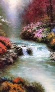 Download free mobile wallpaper 4399: Landscape, Flowers, Water, Rivers, Drawings for phone or tab. Download images, backgrounds and wallpapers for mobile phone for free.