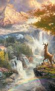 Download free mobile wallpaper 27722: Trees, Deers, Landscape, Pictures, Waterfalls, Animals for phone or tab. Download images, backgrounds and wallpapers for mobile phone for free.