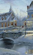 Download free mobile wallpaper 20309: Houses, Snowman, New Year, Landscape, Holidays, Pictures, Christmas, Xmas, Snow for phone or tab. Download images, backgrounds and wallpapers for mobile phone for free.