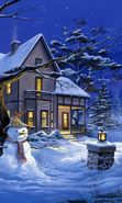 Download free mobile wallpaper 13802: Houses, New Year, Landscape, Pictures, Christmas, Xmas, Snow, Winter for phone or tab. Download images, backgrounds and wallpapers for mobile phone for free.