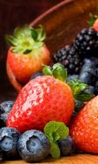 Download free mobile wallpaper 16252: Food, Bilberries, Fruits, Berries, Strawberry for phone or tab. Download images, backgrounds and wallpapers for mobile phone for free.