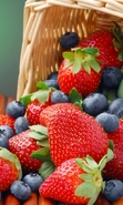 Download free mobile wallpaper 31282: Food,Fruits,Blueberry,Strawberry for phone or tab. Download images, backgrounds and wallpapers for mobile phone for free.