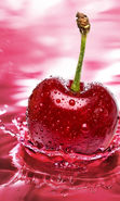 Download free mobile wallpaper 20088: Food, Fruits, Drops, Cherry, Water for phone or tab. Download images, backgrounds and wallpapers for mobile phone for free.