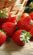 Download free mobile wallpaper 41798: Food,Strawberry,Landscape for phone or tab. Download images, backgrounds and wallpapers for mobile phone for free.