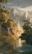 Download free mobile wallpaper 24312: Fantasy, Mountains, Landscape, Castles for phone or tab. Download images, backgrounds and wallpapers for mobile phone for free.