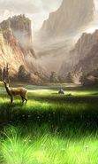 Download free mobile wallpaper 26128: Mountains, Deers, Landscape, Rivers, Pictures, Animals for phone or tab. Download images, backgrounds and wallpapers for mobile phone for free.