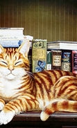 Download free mobile wallpaper 43975: Books,Cats,Pictures,Animals for phone or tab. Download images, backgrounds and wallpapers for mobile phone for free.