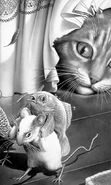 Download free mobile wallpaper 11128: Animals, Cats, Mice, Fishes, Drawings for phone or tab. Download images, backgrounds and wallpapers for mobile phone for free.