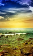 Download free mobile wallpaper 46040: Sea,Landscape,Nature,Sunset for phone or tab. Download images, backgrounds and wallpapers for mobile phone for free.