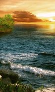 Download free mobile wallpaper 25293: Sea, Landscape, Waves, Sunset for phone or tab. Download images, backgrounds and wallpapers for mobile phone for free.