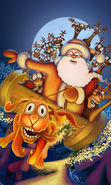 Download free mobile wallpaper 14085: New Year, Pictures, Christmas, Xmas, Santa Claus, Dogs, Humor for phone or tab. Download images, backgrounds and wallpapers for mobile phone for free.