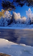 Download free mobile wallpaper 45783: Landscape,Rivers,Winter for phone or tab. Download images, backgrounds and wallpapers for mobile phone for free.