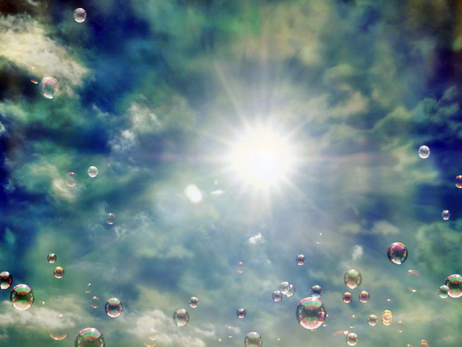 Download mobile wallpaper Abstract, Sky, Sun, Bubbles for free.